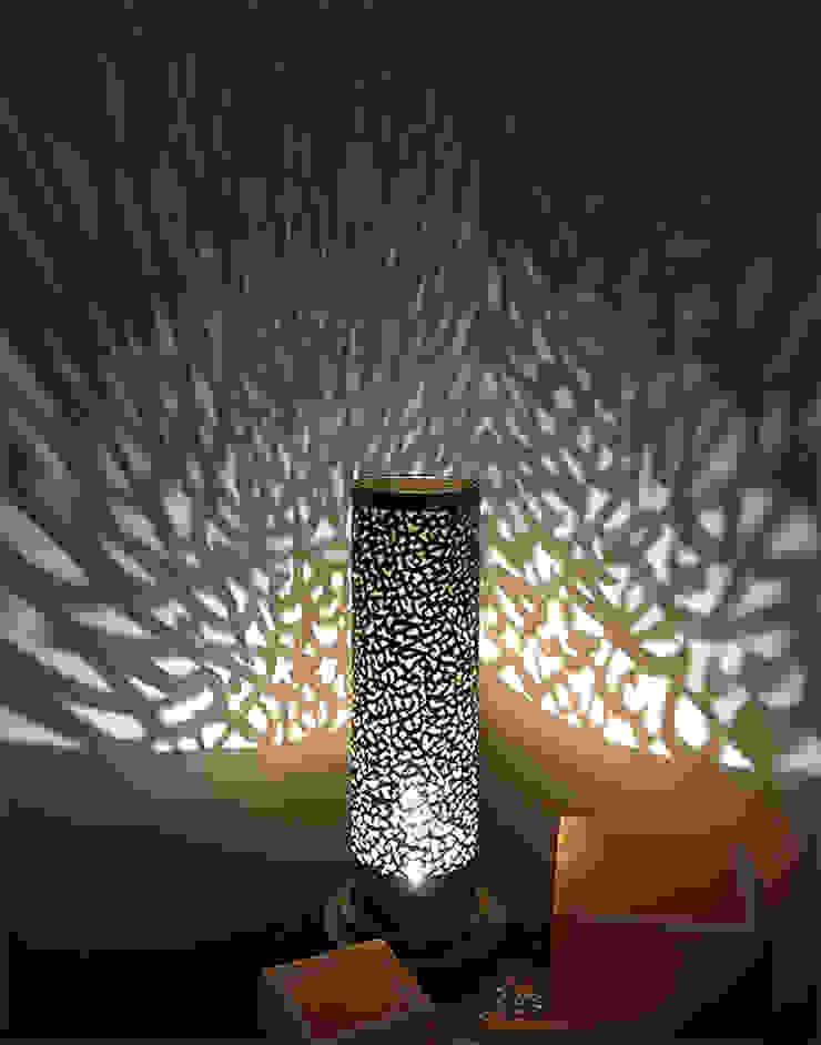 Calligraphy Table Lamp in Silver: mediterranean  by Moroccan Bazaar , Mediterranean