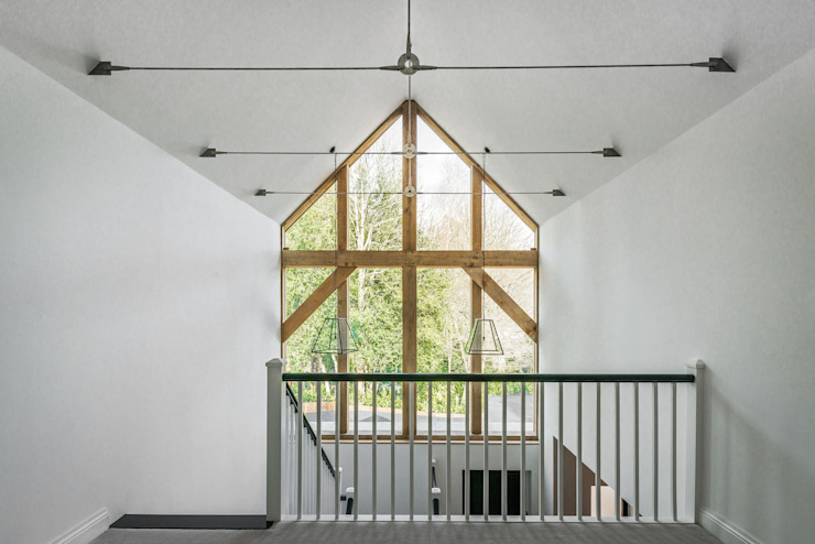 Farnham extension Country style corridor, hallway& stairs by C7 architects Country