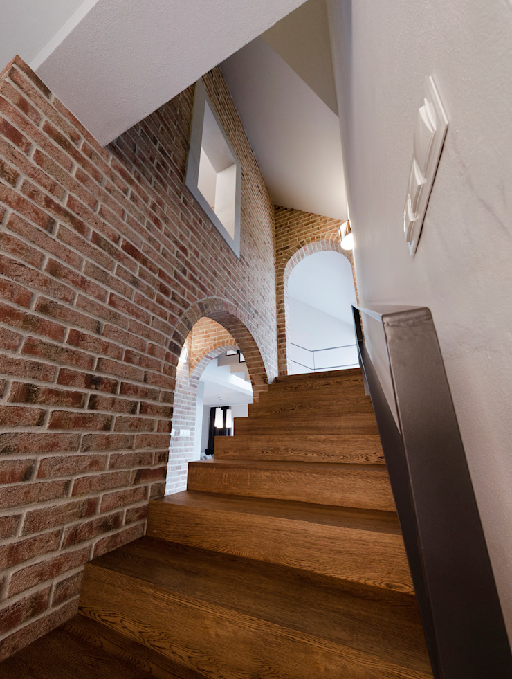 schody Nowoczesny korytarz, przedpokój i schody od Pracownia Świętego Józefa Nowoczesny
