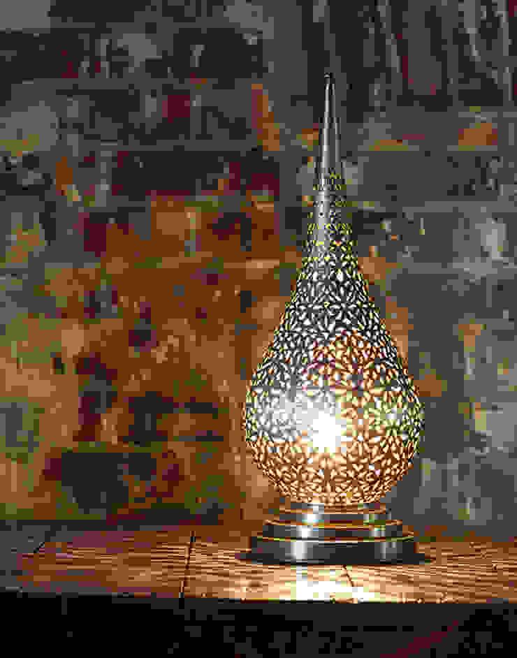 Silver Moroccan Flame Table Lamp: mediterranean  by Moroccan Bazaar , Mediterranean