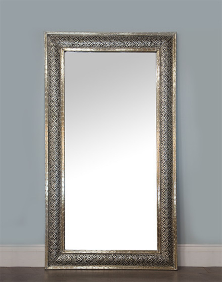 Moroccan White Metal Etched Mirror: mediterranean  by Moroccan Bazaar , Mediterranean