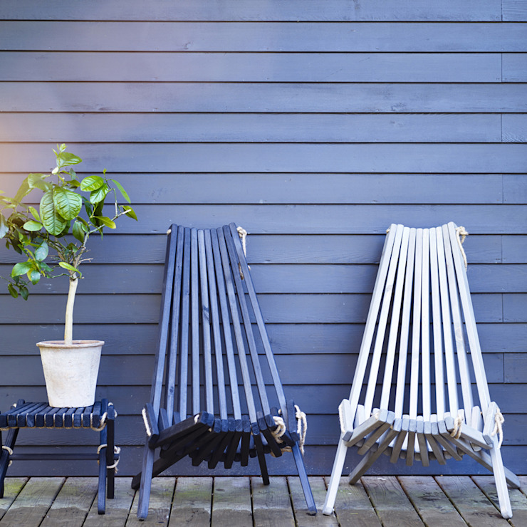 Harmen Outdoor Chair & Footstool: scandinavian  by Rowen & Wren, Scandinavian