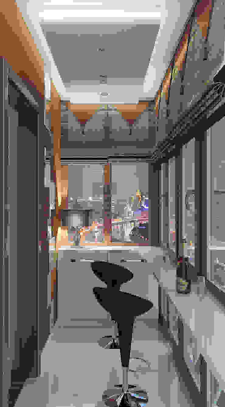 Дизайн-проект балкона. Балкон и терраса в стиле модерн от ИнтеРИВ Модерн