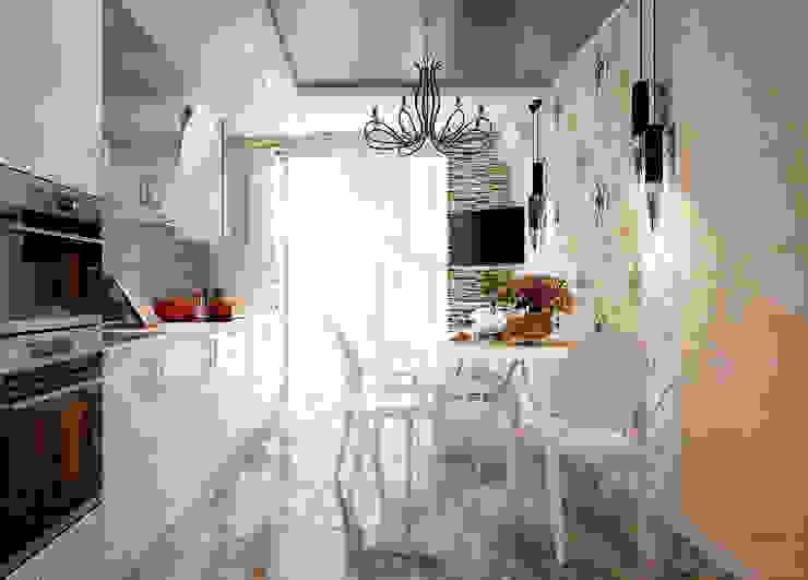 """Дизайн кухни в стиле фьюжн в ЖК """"Солнечный город"""" Кухня в стиле модерн от Студия интерьерного дизайна happy.design Модерн"""