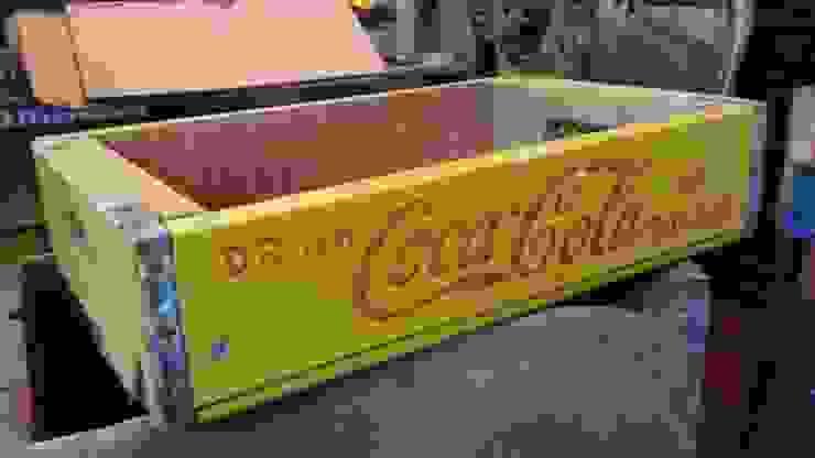 Rare yellow vintage coke crate: rustic  by Tramps (UK) Ltd, Rustic