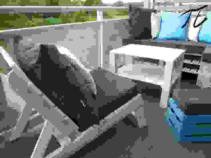Projek tarasu z mebli z palet: styl , w kategorii Ogród zaprojektowany przez Palletideas