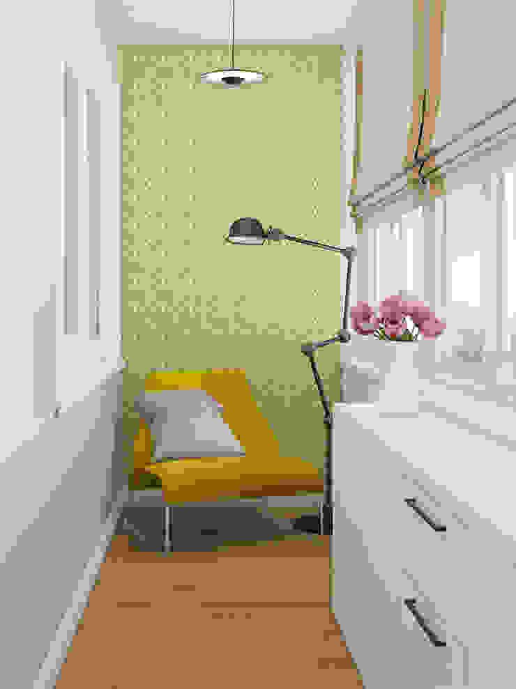 Лоджия - кабинет Балкон и терраса в стиле минимализм от Анпилогова Татьяна Минимализм
