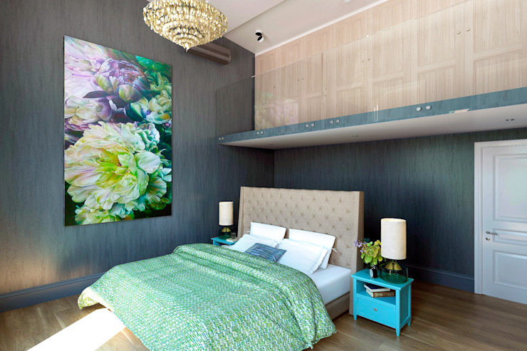 Двухуровневая спальня Спальня в эклектичном стиле от lab21studio Эклектичный