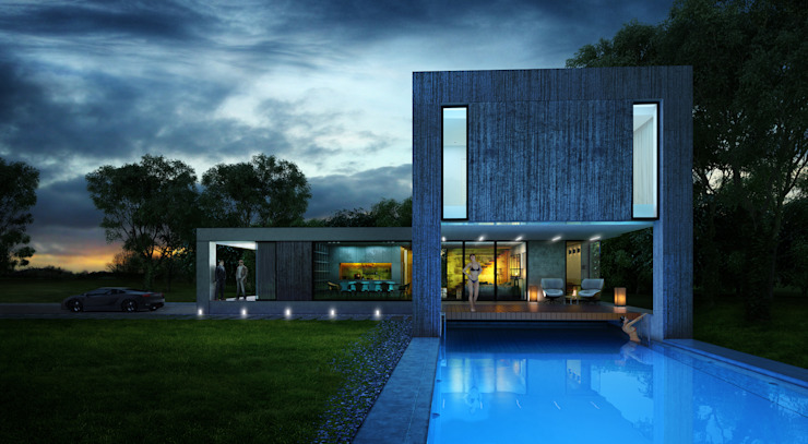 Дом-аквариум Дома в стиле минимализм от ALEXANDER ZHIDKOV ARCHITECT Минимализм