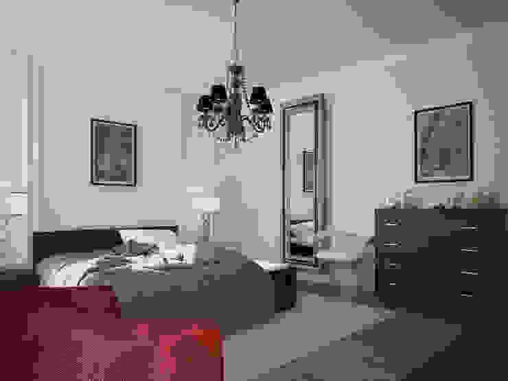 ДОМ В ПОСЕЛКЕ ПОЛИВАНОВО (визуализация) Спальня в эклектичном стиле от ALEXANDER ZHIDKOV ARCHITECT Эклектичный