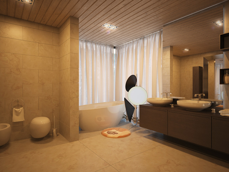 ДОМ В ПОСЕЛКЕ ПОЛИВАНОВО (визуализация) Ванная комната в стиле минимализм от ALEXANDER ZHIDKOV ARCHITECT Минимализм