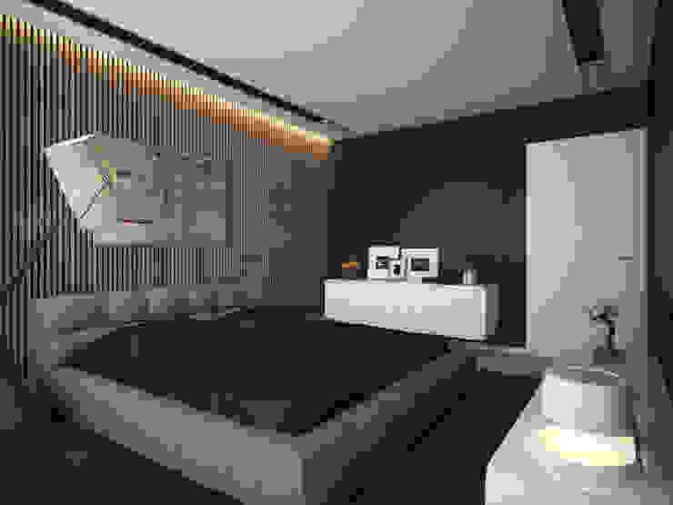 ДОМ В ПОСЕЛКЕ ПОЛИВАНОВО (визуализация) Спальня в скандинавском стиле от ALEXANDER ZHIDKOV ARCHITECT Скандинавский