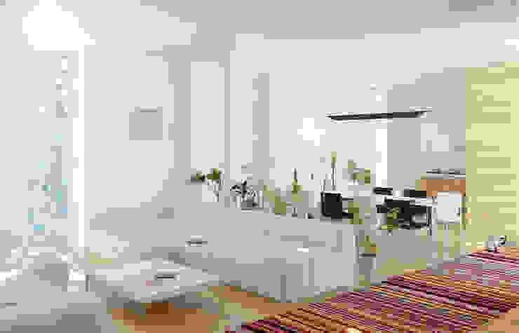 Дом в Гурзуфе Гостиная в стиле минимализм от ALEXANDER ZHIDKOV ARCHITECT Минимализм