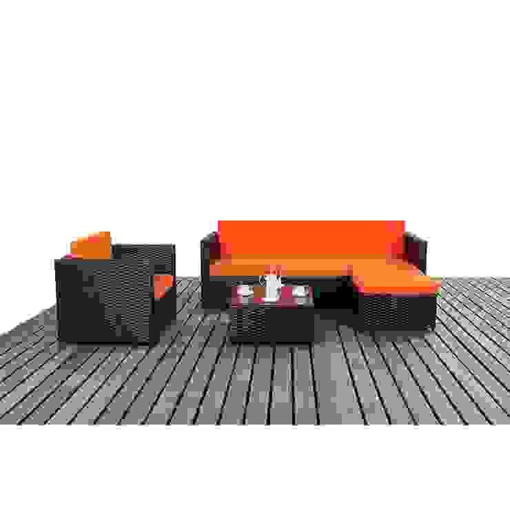Bonsoni Black & Orange Corner Sofa Set - Comes With a Modular Corner Sofa, an armchair and a Coffee Table Rattan Garden Furniture di homify Asiatico