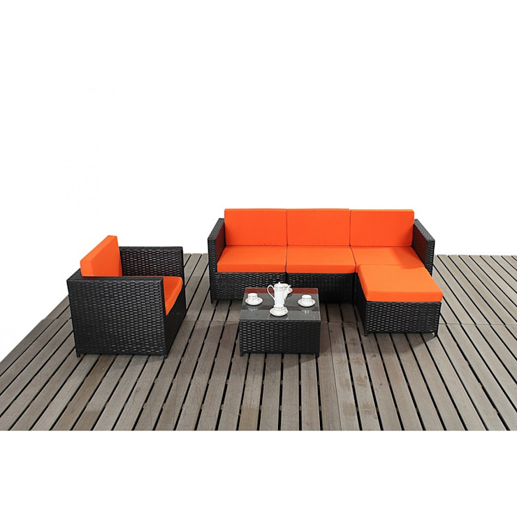 Bonsoni Black & Orange Corner Sofa Set - Comes With a Modular Corner Sofa, an armchair and a Coffee Table Rattan Garden Furniture van homify Koloniaal