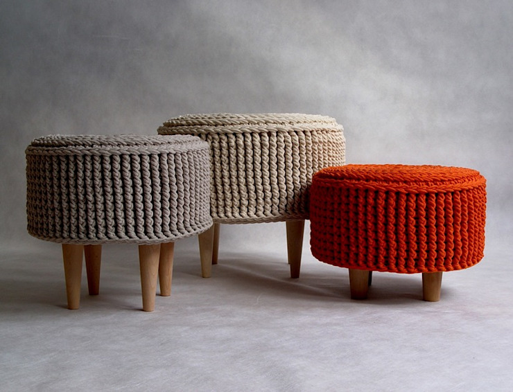 Crochet pouf, knitted ottoman, model PARIS RENATA NEKRASZ art & design İskandinav