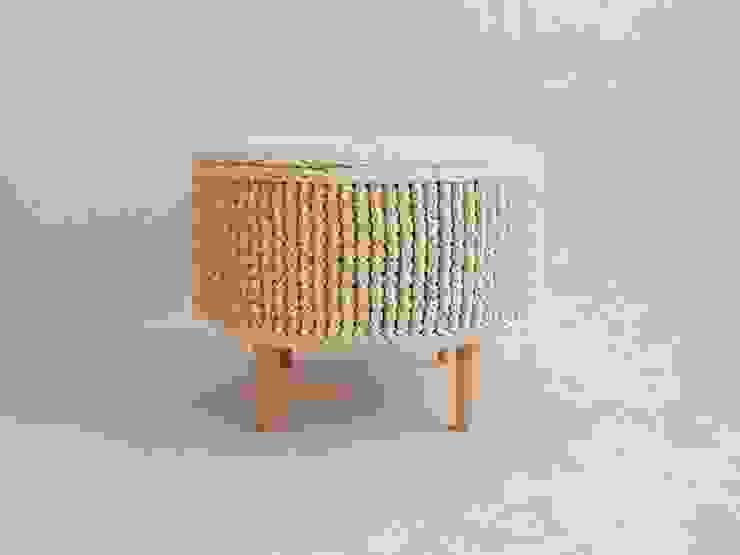 Crochet pouf, knitted ottoman, model PARIS 55cm, material cotton, color 23 van RENATA NEKRASZ art & design Scandinavisch