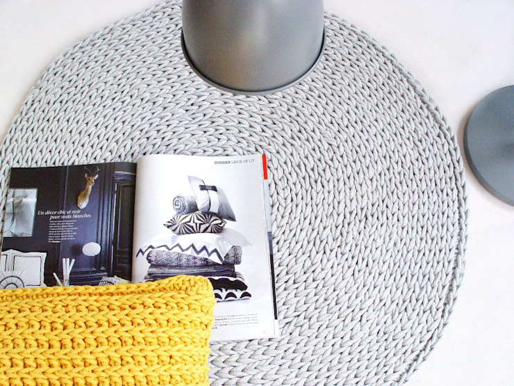 Handmade crochet rug, crochet carpet, round rug, knitted carpet, knitted rug, model COPENHAGEN. material cotton, color 12 por RENATA NEKRASZ art & design Escandinavo