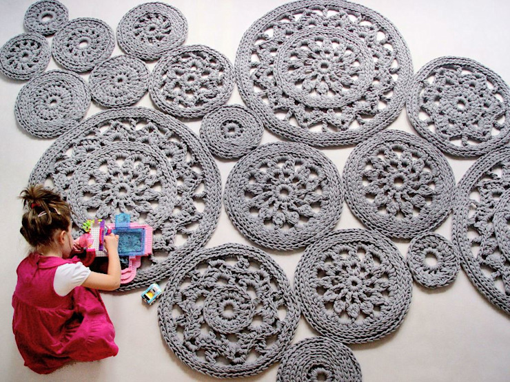 Handmade crochet rug, crochet carpet, round rug, knitted carpet, knitted rug, model WIEN material cotton, color 13 Oleh RENATA NEKRASZ art & design Skandinavia