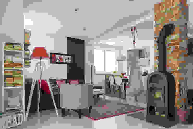 dom 115m2: styl , w kategorii Salon zaprojektowany przez Projekt Kolektyw Sp. z o.o.,Eklektyczny