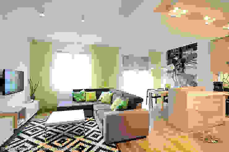mieszkanie z Bolkiem i Lolkiem Projekt Kolektyw Sp. z o.o. Skandynawski salon