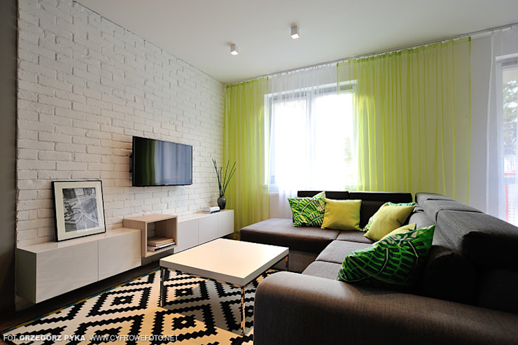 Scandinavian style living room by Projekt Kolektyw Sp. z o.o. Scandinavian
