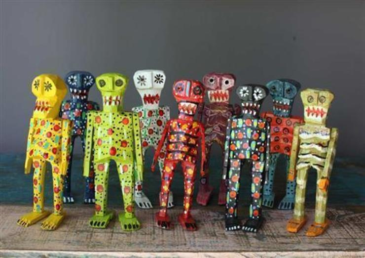 Hand Carved Mexican Wooden Skeletons: eclectic  by Vintage Archive, Eclectic