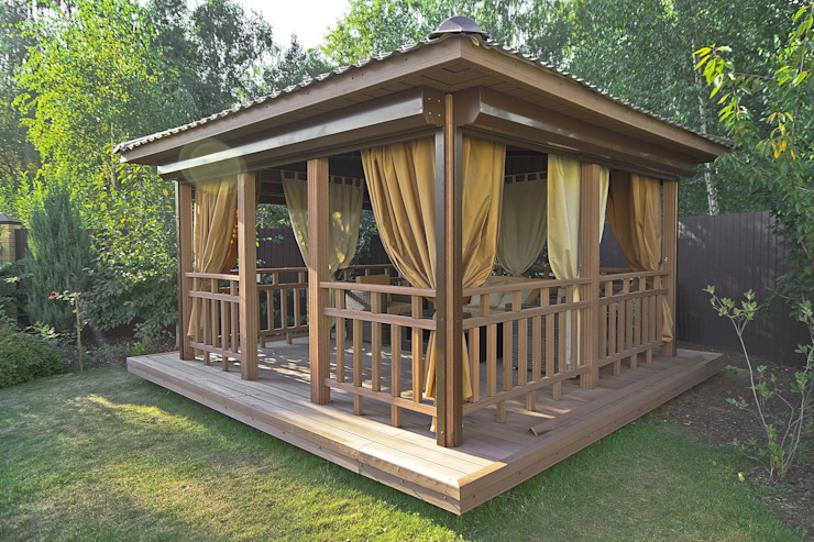 Уличные шторы для беседки:  в современный. Автор – DECOR OUTDOOR, Модерн