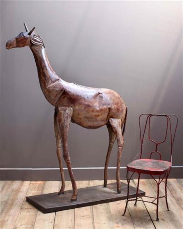 Metal Giraffe Sculpture: asian  by Vintage Archive, Asian