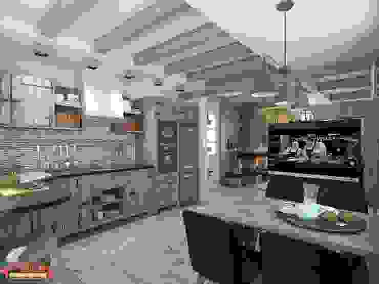 Дизайн проект гостиной в загародном доме Кухня в стиле кантри от MoRo Кантри