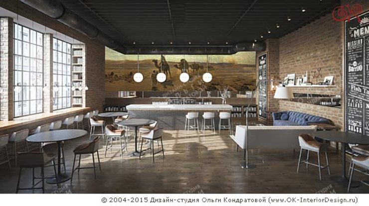 Концепция интерьера сети кофеен в стиле лофт Гостиная в стиле лофт от Olga's Studio Лофт