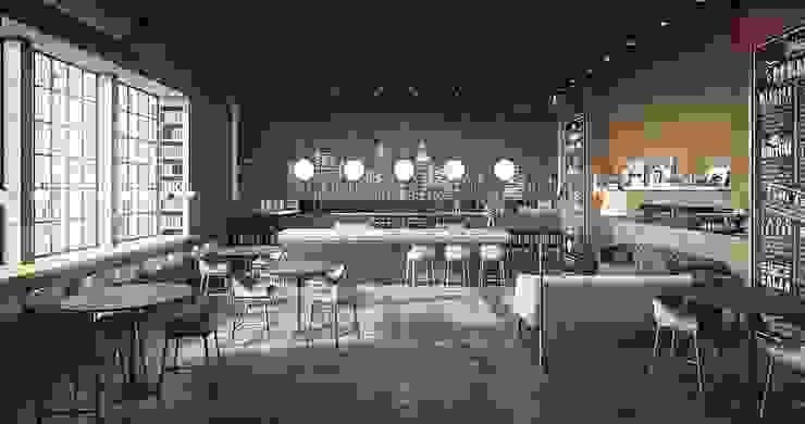 Вариант дизайна интерьера кафе в стиле лофт Гостиная в стиле лофт от Olga's Studio Лофт