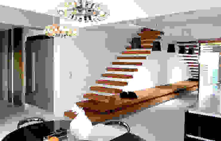 Pasillos, vestíbulos y escaleras de estilo moderno de STRUKTURA Łukasz Lewandowski Moderno