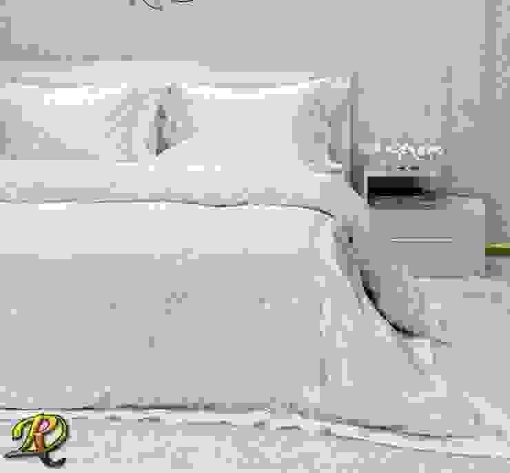 White Tiara Cotton Sateen Jacquard & Lace: modern  by Roxyma Dream UK, Modern