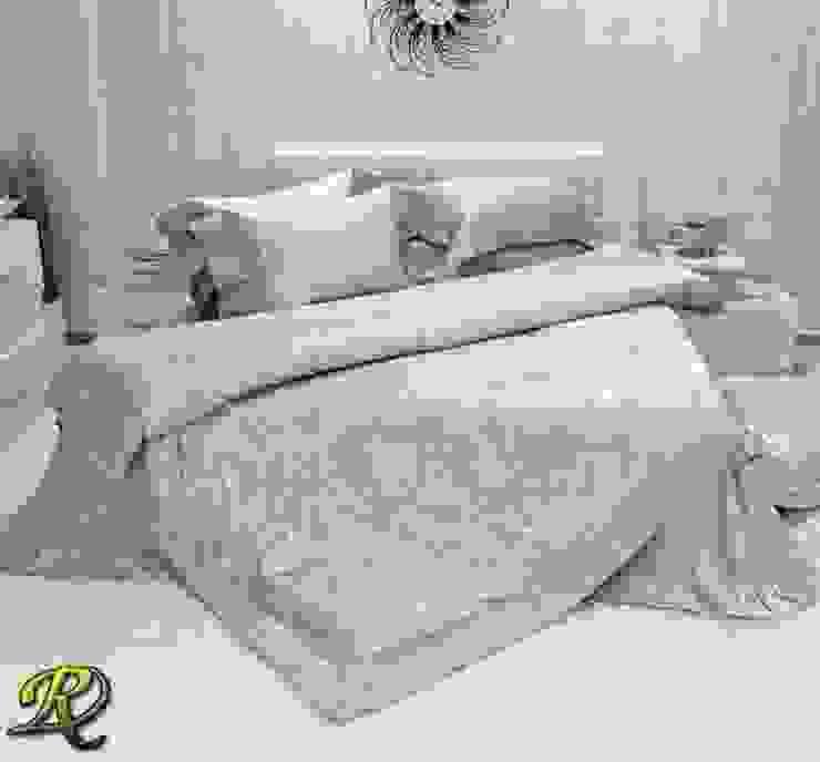 Aqua Ksenia Cotton Sateen Jacquard & Lace: modern  by Roxyma Dream UK, Modern