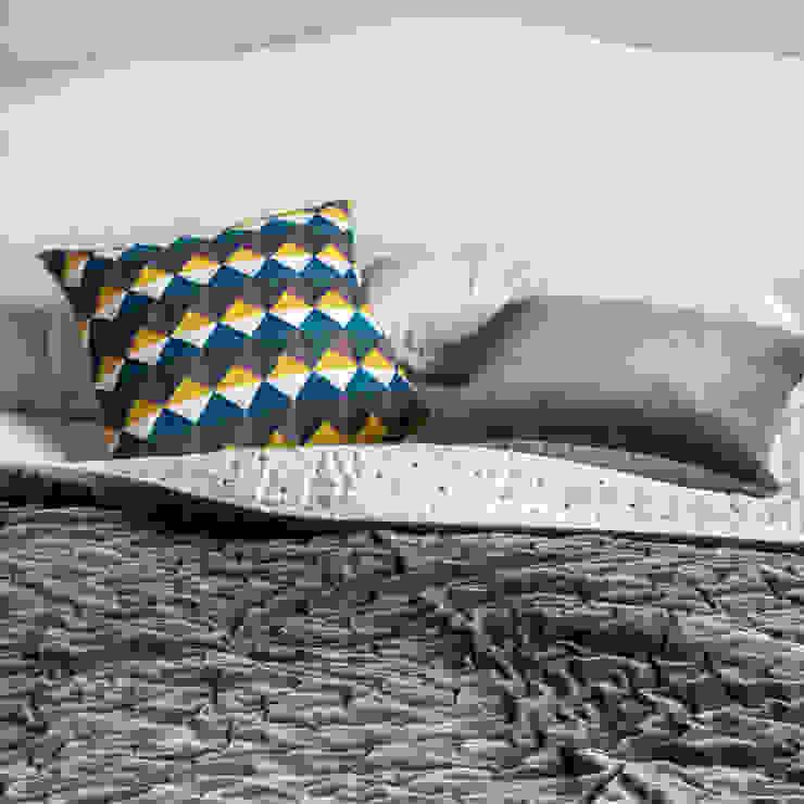 Escher Cushion (Fig/Chartreuse): modern  by Niki Jones, Modern