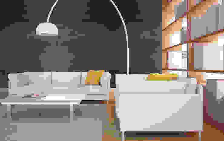 Beton architektoniczny w salonie - antracyt Nowoczesny salon od Luxum Nowoczesny