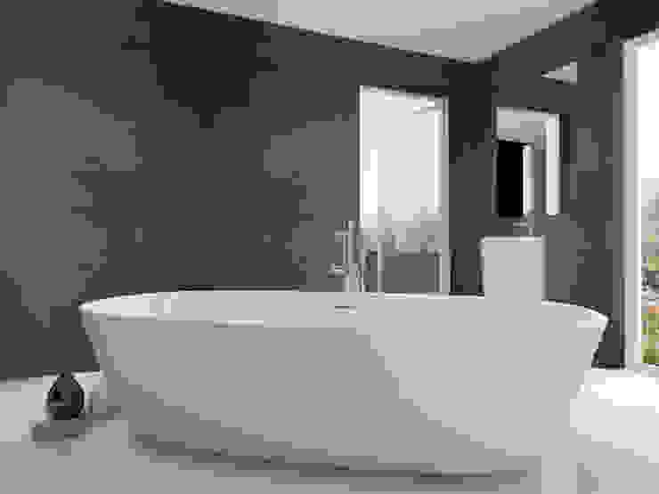 Beton architektoniczny w łazience - antracyt Nowoczesna łazienka od Luxum Nowoczesny