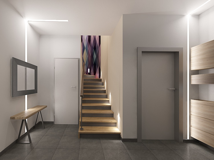 Minimalist corridor, hallway & stairs by Мастерская дизайна ЭГО Minimalist