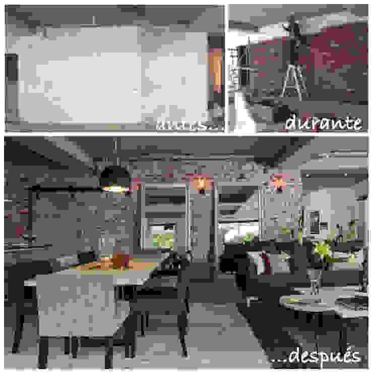 Comedor y sala. Antes y después.:  de estilo industrial por MARIANGEL COGHLAN, Industrial