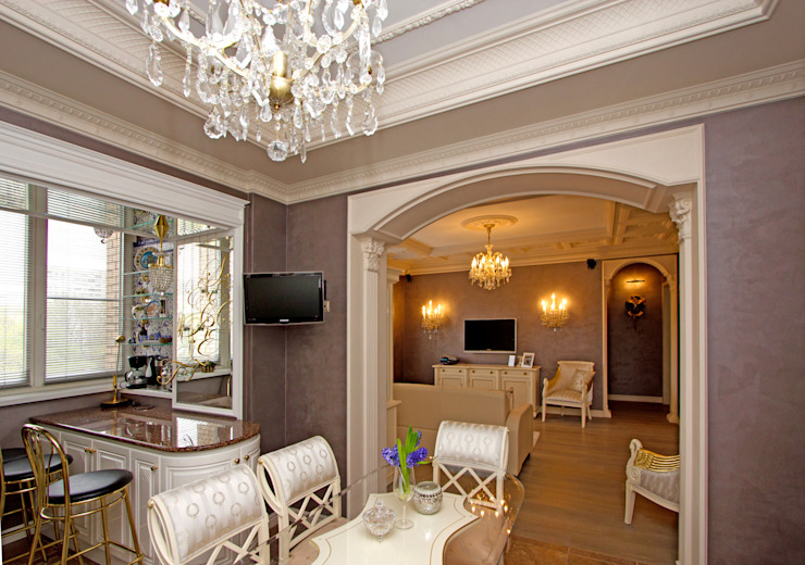 Вид на гостиную из столовой. от архитектор Виктория Тажетдинова