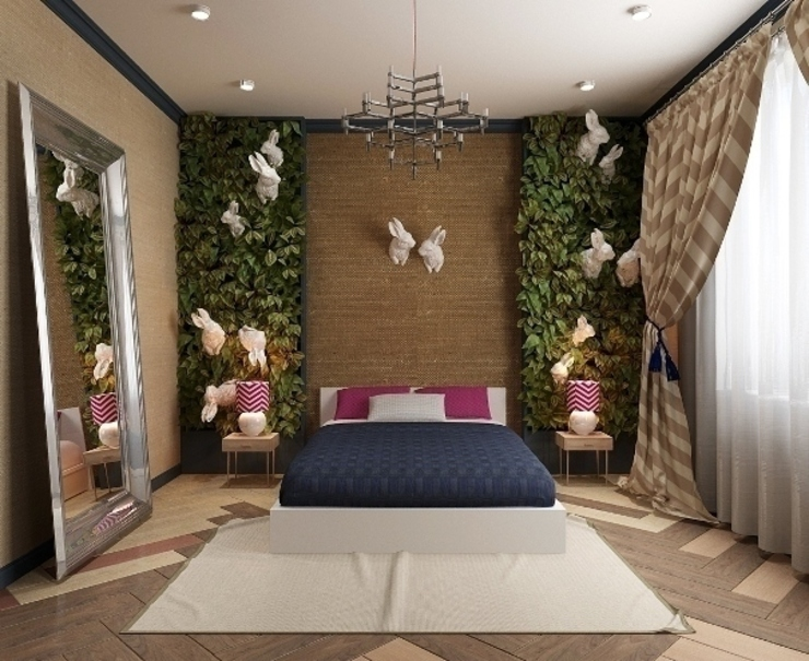 Кролики в траве Спальня в эклектичном стиле от Design by Ladurko Olga Эклектичный
