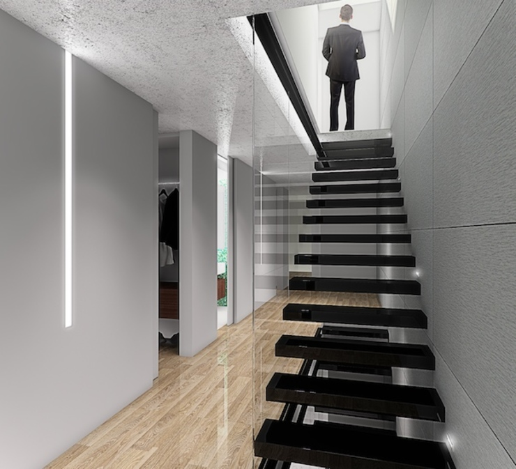 Escadas Corredores, halls e escadas minimalistas por HRA-Lisboa Minimalista