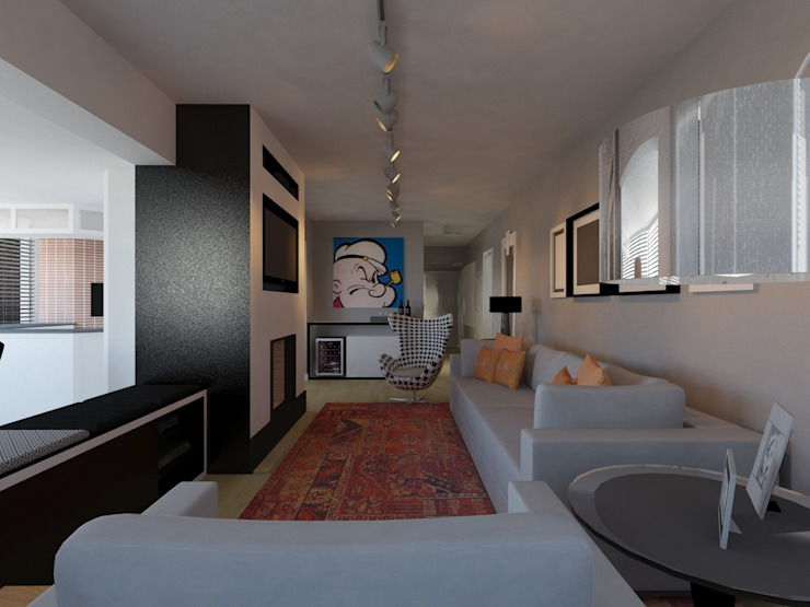 Perspectiva sala de estar Salas de estar modernas por Projeto Bem Bolado Moderno
