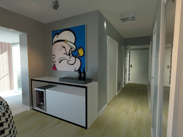 Sala de Estar P&B Salas de estar modernas por Projeto Bem Bolado Moderno