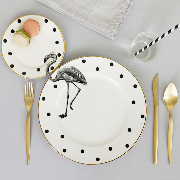 Fancy Flamingo Plate Set por Yvonne Ellen Eclético