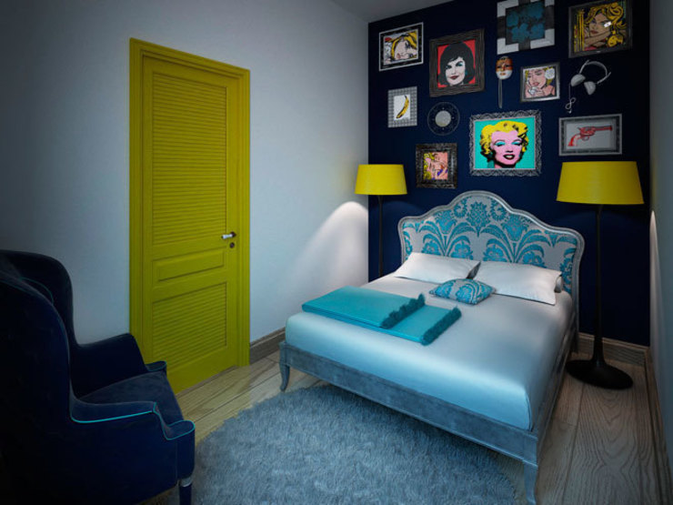 Спальня в стиле поп-арт Спальня в стиле модерн от Студия дизайна интерьера Маши Марченко Модерн