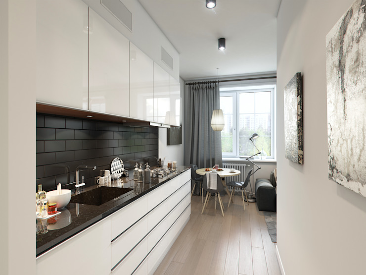 apartment of 32sq.m. Entalcev Konstantin Industrial style kitchen