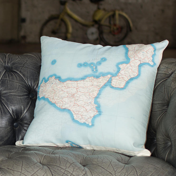 Cushion cover made from genuine vintage escape and evasion silk maps - Italy including Sicily: industrial  by Home Front Vintage, Industrial
