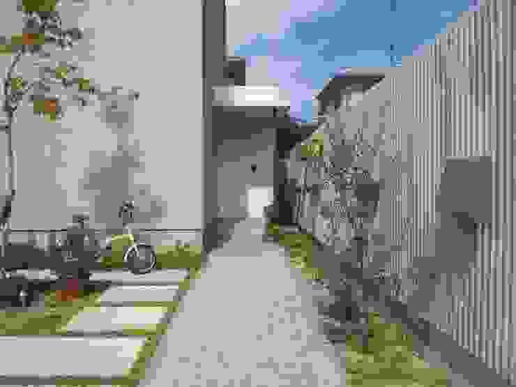 アプローチ カントリーな 庭 の 内田建築デザイン事務所 カントリー